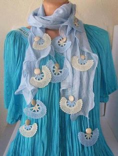 Turkish oya: Source by Crochet Motifs, Crochet Shawl, Crochet Lace, Denim And Lace, Lace Scarf, Cotton Scarf, Point Lace, Fashion Sites, Lace