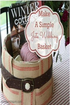 Organize in style with this jute webbing basket.