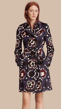 Bright navy Tie-dye Print Cotton Trench Coat - Image 1