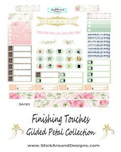 Finsishing Touches Planner Stickers from the Gilded Petal collection at…