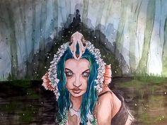 Battyinthegraveyard ink and watercolor portrait by JaimeShive