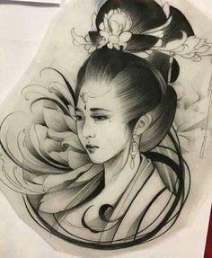 hình xăm geisha 34                                                                                                                                                                                 More Geisha Tattoos, Geisha Tattoo Design, Japanese Artwork, Japanese Tattoo Art, Asian Tattoos, Girl Tattoos, Dibujos Tattoo, Geisha Art, Tatuajes Tattoos