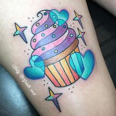 Cute cupcake tattoo stars hearts