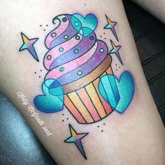 Cute cupcake tattoo stars hearts