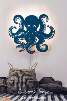 Blue Octopus lamp on your wall will look great both day and night. This plug in wall sconce is also an original nautical decor. For more lamp designs check our store!