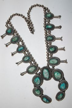 Old hallmarked Navajo Johnny 3 Trees vintage Carico Lake Turquoise squash blossom necklace