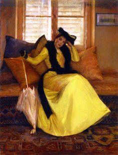 Watkins. Susan S (b,1875)- Lady w Umbrella on Sofa- Pose