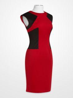 R&M Richards Red & Black Dress #crimson #ruby #colorblock #sheath #geometric #womens #fashion