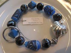 Handmade For You Hands-Free Beaded Bracelet KeyChain Keyring Blue Black Lampwork Swirl Beads Brighton Silver Stretch Cord Fit Many Size K134 by JewelsHandmadeForYou on Etsy