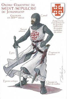 Thank you Veronique! The Equestrian Order of the Holy Sepulchre of Jerusalem is a Roman Catholic order of knighthood under the protection of the pope. Crusader Knight, Knight Armor, Knights Hospitaller, Knights Templar, Medieval Knight, Medieval Armor, Knight Orders, Empire Romain, Armadura Medieval