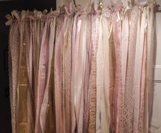 Fabric backdrop made from strips of about different fabrics tied to a cafe curtain rod and hung on the wall with sticky back removable temporary hooks. Colors were blush, gold and ivory/beige. Maybe little time consuming and not super cheap but supe Fabric Backdrop, Fabric Garland, Shabby Chic Shower Curtain, Cute Girls Bedrooms, Cafe Curtain Rods, Gold Bridal Showers, Country Charm, Different Fabrics, Pink And Gold