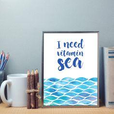 I need Vitamin Sea Blue Watercolour Sea Summer Wall Art Print Ted Mosby, Kids Room Wall Art, Nursery Wall Art, Wall Art Prints, Nursery Prints, I Need Vitamin Sea, Watercolor Sea, Messages, Card Envelopes