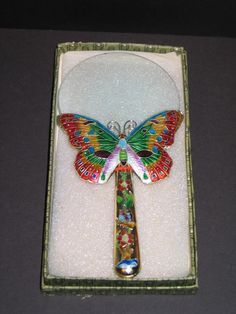 Vintage Cloisonne Enamel Magnifying Glass with Butterfly still in Box. Starting at $3