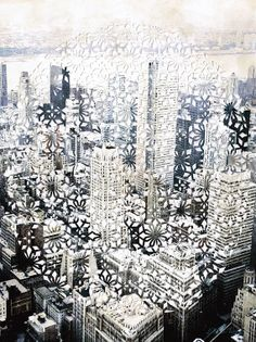 Cityscape Original Paper Cut Collage by PaperThought on Etsy, $150.00
