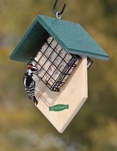 Double Woodpecker Suet Feeder Homemade Bird Houses, Homemade Bird Feeders, Bird Houses Diy, Suet Bird Feeder, Bird House Feeder, Bird Feeder Plans, Bird House Plans, Bird House Kits, Woodpecker Feeder
