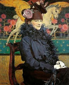 ein-bleistift-und-radiergummi: Józef Mehoffer, Portrait of the Artist's Wife with Pegasus, 1918 - (Museum of Art, Lodz, Poland) Art Et Illustration, Illustrations, Art Amour, Blog Art, Post Impressionism, Beautiful Paintings, Figurative Art, Female Art, Art Images