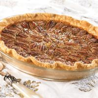 Karo Classic Pecan Pie, the only recipe my mom has ever used.  Perfect southern pecan pies.......