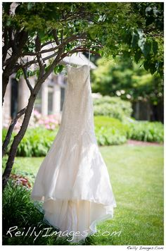 A Wedding Dress hung outside at Bishops Bay in Madison, WI