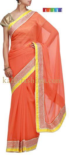 Buy it now  http://www.kalkifashion.com/orange-saree-with-gotta-patti-lace.html  Orange saree with gotta patti lace