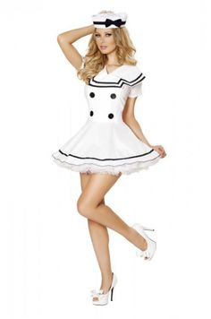 MOONIGHT Classic Women Solid White Sailor Costume Halloween Costumes for Women Carnival Navy Costume Party Dress Sailor Costumes, Girl Costumes, Costumes For Women, Cosplay Costumes, Bedroom Costumes, Adult Costumes, Dance Costumes, Costume Marin, Navy Costume