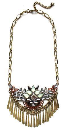 Boho Metal Fringe Stone Bib Necklace