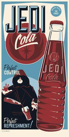 """Star Wars Limited Edition Silkscreen """"Jedi Cola"""" by Steve Thomas Star Wars Fan Art, Star Wars Decor, Star Wars Pictures, Star Wars Images, Star Wars Party, Obi Wan, Steve Thomas, Drawing Stars, Rock Poster"""