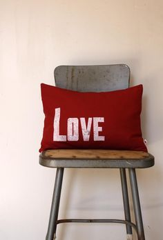 Love pillow hand stamped with old letterpress blocks, printed on hemp/cotton blend fabric. NestaHome