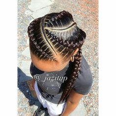 I want Ghana braids for my hairstyle Black Girl Braids, Braids For Black Hair, Braids For Kids, Girls Braids, 2 Big Braids, 4 Feed In Braids, Braids For Black Kids, Tight Braids, African Braids Hairstyles