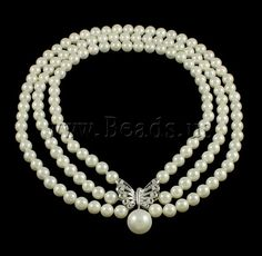 South Sea Shell #Necklace,  3-strand & with #rhinestone