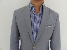 gingham shirt, no tie, pocket square, light suit...would be great for a casual summer event/wedding