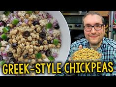 "Recipe: Brian's Quick Greek-Style Chickpeas + ""Greek Bowl"" & Salad Ideas (Vegan) – Krocks In the Kitchen Vegan Soups, Vegan Vegetarian, Vegetarian Recipes, Whole Food Recipes, Dog Food Recipes, Vegan Tzatziki, Glass Spice Jars, Whole Foods Market, How To Dry Oregano"