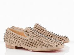 Christian Louboutin Rollerboy Spikes Flat Men Shoes Nude