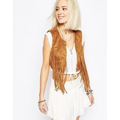 Vero Moda Fringed Cropped Vest ($57) ❤ liked on Polyvore featuring outerwear, vests, tan, vero moda, white fringe vest, vest waistcoat, white waistcoat and cropped vest