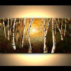 """Bouleau acrylique peinture 48"""" peinture acrylique moderne Silver Birch Tree couteau à Palette paysage par Osnat - sur commande"""