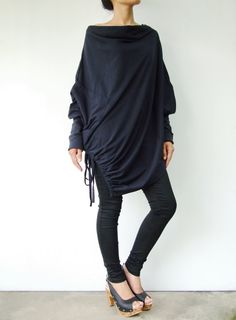 NO.59 Midnight Blue Cotton-Blend Batwing Tunic Loose Asymmetrical Sweater on Etsy, $44.00