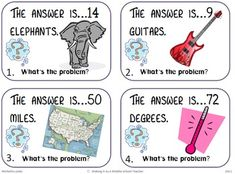 The Answer Is.What's The Question? What a great way for students to use their higher level thinking skills. by estelle Math Resources, Math Activities, Math Games, Daily 5 Math, Math Problem Solving, Math Task Cards, Math Word Problems, Math Projects, Math Journals