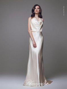 Abito champagne in seta - Abito da sposa in seta champagne della collezione Blumarine 2015