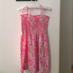 Lilly Pulitzer spaghetti strap sun dress Timeless classic Lilly Pulitzer sun dress, unlined with lilly lace hem Lilly Pulitzer Dresses Mini