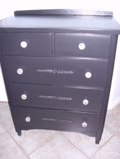 Black antique dresser, solid wood, nice details on drawers, new glass knobs $185 SOLD SOLD SOLD