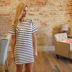 """Black and white striped shift dress Modeling size small, thick, non sheer fabric. 70% cotton 30% rayon. Bust laying flat: S 19"""" M 20"""" L 21"""" length S 33"""" M 34"""" L 35"""". Add to bundle to save when purchasing two or more items from my closet. OS1377222 Dresses"""