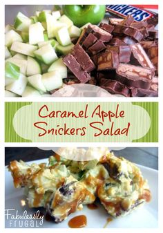 Caramel Apple Snickers Salad. Such a simple and tasty no-bake dessert! Perfect for potluck.