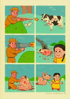 Spanish cartoonist Joan Cornellà combines black humor and extreme discomfort, most famously in his wordless, six-panel comics. Cornellà's work deals in mutilation and disfigurement, sadistic or oblivious violence, the alienation of modernity and a total disregard for human life. (I know. It doesn't sound funny, but trust me.) Cornellà's aesthetic runs completely counterintuitive to his themes—his colors are lovely and soothing, and his human figures are glassy-eyed and friendly, as if the...