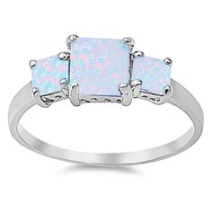 Three Stone Wedding Engagement Ring 3.00CT Princess Cut Square Lab White Opal Three Stone Solitaire Wedding Engagement 925 Sterling Silver