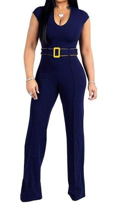 90d28bc0eafa Blue Yellow Trimmed Belted High Waist Jumpsuits