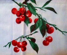 VTG 1950s Pinup Rockabilly Tablecloth Cherries Cherry Blossoms Eames Mid Century