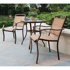 Relax yourselves or spend an evening with friends in the confines of your patio with thisOutdoor Bistro Set. It adorns your patio or garden with its contemporary design. This patio set includes 2 bistro sling chairs and a table with tempered glass top.