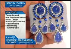 Love these earrings!  Tanzanite, blue sapphire and diamonds adorn these dangles. Over 34 carats of tanzanite in cabochon style set within diamonds and highlighted by over 5 carats of blue sapphire set in 18k white gold.
