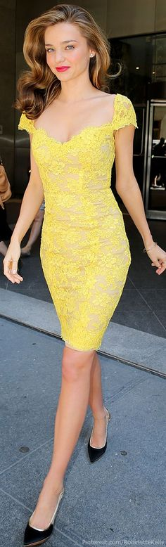 | Miranda Kerr, I love this yellow. Not neon, just a cream yellow, that is very fresh looking