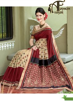 dupioni silk sarees price.We unfurl our the intricacy and exclusivity of our creations highlighted in such a lovely Maroon & Dark Cream Dupioni Raw Silk