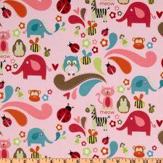 Riley Blake Alphabet Soup Flannel Tossed Animals Pink